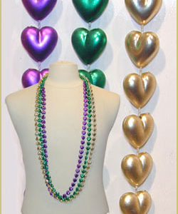 "48"" 14MM PURPLE, GOLD & GREEN HEARTS"